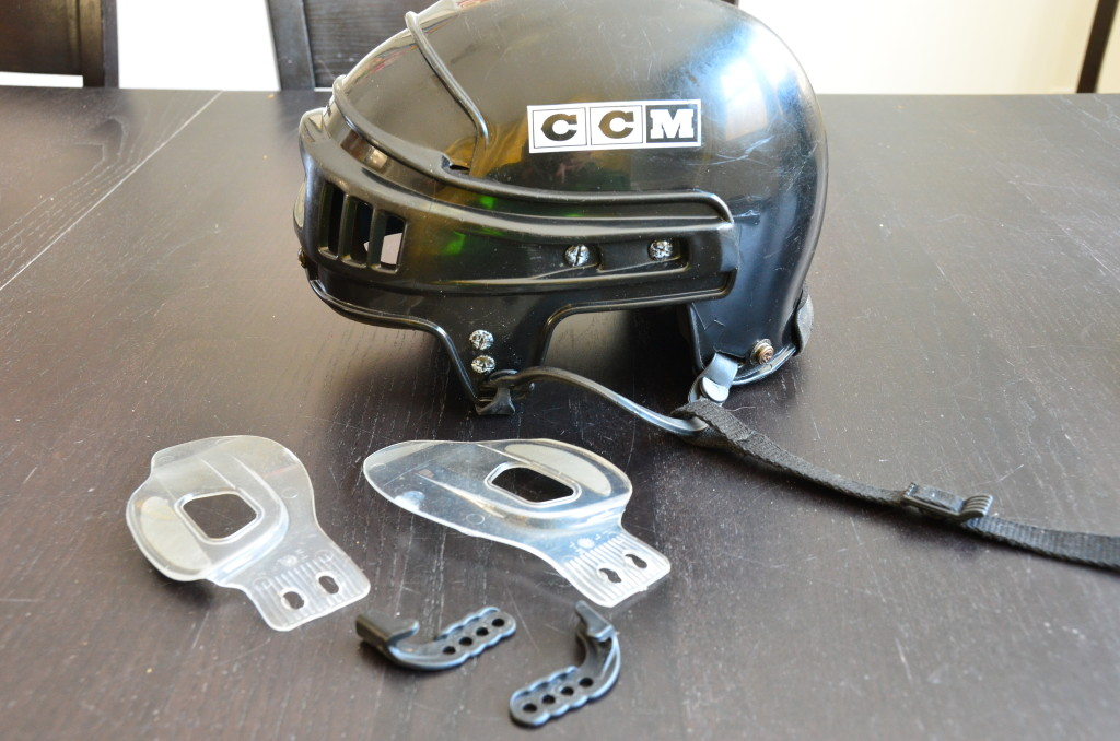 My helmet, mostly disassembled and cleaned.