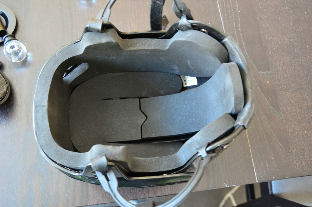 Here's the inside of the helmet before I cut away the padding.