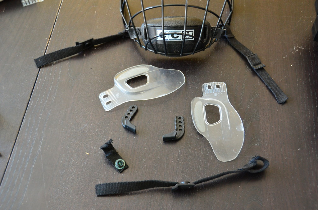 These are the parts I removed from the helmet. Some I kept, some I tossed.